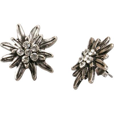 silberne Edelweiß Trachten Ohrringe mit Steinchen