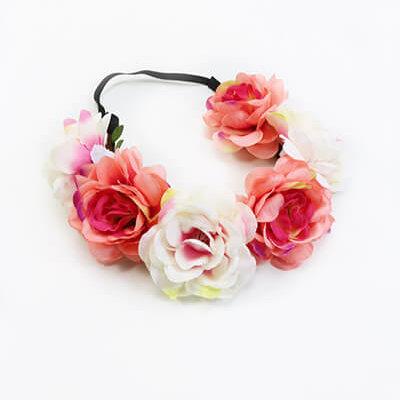 Blumen Haarband weiß rosé