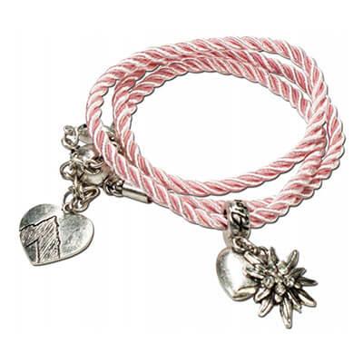 Look Marietta blau - Wickelarmband rosa