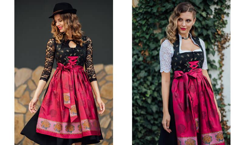 Dirndl Marlene, kombiniert mit unterschiedlichen Blusen - aus romantisch wird extravagant!