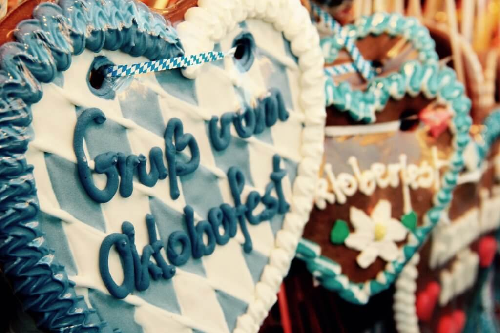 Lebkuchenherzen Gruß vom Oktoberfest blau weiß