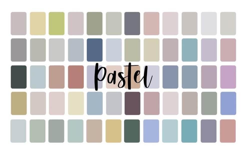 Farbpalette von gedeckten Pastellfarben